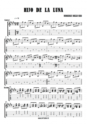 arrangement pour guitare partition tablature